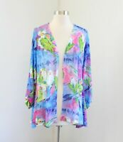 NWT Leoma Lovegrove Partyline Bird Print Cardigan Sweater Size M Blue Pink Green