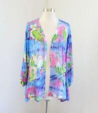 NWT Leoma Lovegrove Partyline Bird Print Cardigan Sweater Size M Blue Pink Green
