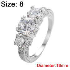 Size 6-9 White Sapphire Engagement Wedding Ring Silver Plate Crystal Rhinestone 8