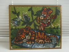 Funny Monkey Tiger Cub Soviet Cartoon Picture Vintage Wood Painting USSR 1970s