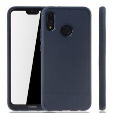 Huawei P20 Lite Schutzhülle Silikon Slim Case Handy Cover Etui Carbon Optik Blau