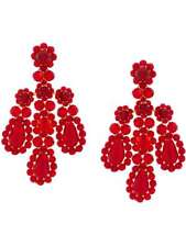 $736 Signed SIMONE ROCHA Red Crystal Statement Drop Stud Earrings 7.5cm