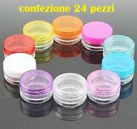 Set 24 Pezzi Piccoli Contenitori Plastica Cosmetici Trucco Creme Erbe Spatol moc