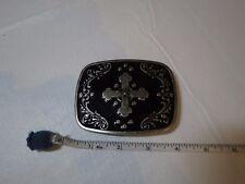 Cross belt buckle silver black enamel medium to large beltbuckle no brand