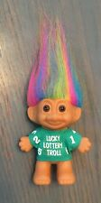 "Vintage Russ Lucky Lottery Troll Doll 3"" - Beautiful Rainbow Hair Brown Eyes"