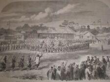 Review British and Japan army at Yokohama 1865 old print ref T