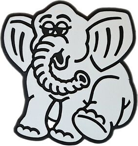 Auto 3D Relief Schild Elefant Elmar Emblem silbergrau 7 cm HR 4845 selbstklebend