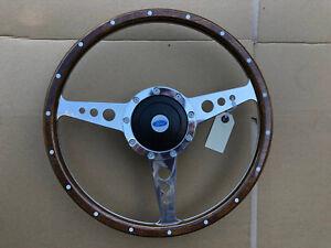 "Ford Capri Escort Anglia Classic Polished Alloy Spoke Wood 13"" Steering Wheel"