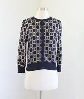 Ann Taylor Navy Blue Beige Geometric Print Cropped Knit Cardigan Sweater Size S