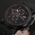 CURREN Mens Fashion Leather Sport Stainless Steel Black Army Wrist Quartz Watch