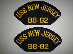 Lot De 2 États-Unis Marine Correctifs : Uss Neuf Jersey BB-62