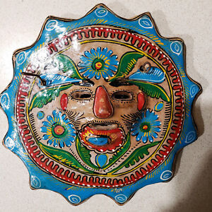 Mexican Aztec Hand Made Clay Sun Mask Colorful Painted Wall Art