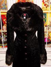 Betsey Johnson VINTAGE Dress Coat CRUSHED VELVET Black FAUX FUR Jacket S 2 4