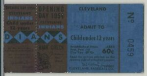 1954 CLEVELAND INDIANS Opening Day Ticket Stub vs Detroit Tigers
