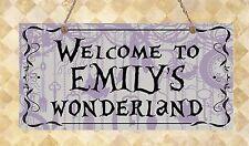 Alice in Wonderland personalised Bedroom Door Sign Welcome Gift Present Plaque