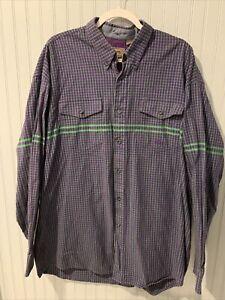Roper Mens Long Sleeve Checkered Western Button Down Shirt~Purple & Green 2XL~D2