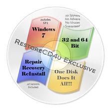 Windows 7 SP1 DVD All Versions 32 & 64 bit - Install, Recovery, Repair w/HD