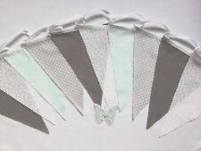 Fabric Bunting Grey Mint White Wedding Celebration Party Decor 3m - Angel