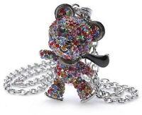 Damen Teddy Schlittschuh Anhänger+Halskette mit Swarovski Kristall Ketten Bunt