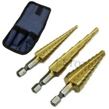 "New 3Pcs/set Steel Titanium Coated Step Drill Bit Quick-change 1/4"" Hex Shank"