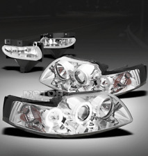 99-04 FORD MUSTANG HALO CHROME PROJECTOR HEAD LIGHTS+BUMPER FOG LAMP KIT BASE GT