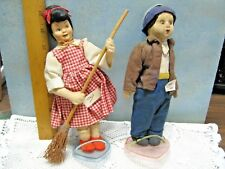 Pair of 2 Italian Italy Vintage Antique Felt/Cloth Dolls Husband/Wife