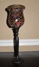 Partylite Global Fusion Peglite Handpainted Mosaic Tiles Acrylic Beads W/ stand