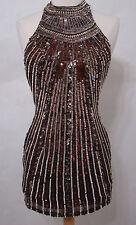 SHAIL K 100% Silk Brown Gold Sequin Holiday Halter Dress India NWOT 0