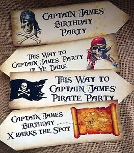 Set of 4 Large Personalised Pirate Party Decoration Arrows