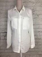 Womens Shirt Next White Long Sleeve Soft Blouse Sheer Soft Size UK 12 US 8