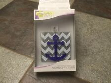 SWITCHABLES NIGHT LIGHT COVER ANCHOR/GREY CHEVRON STAINED GLASS NIB BLK/GRY/SILV