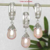 Freshwater Cultured Pearl Dangle Earring & Pendant Set w/ Cubic Zirconia - TPJ