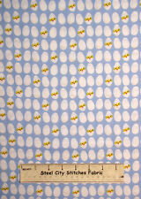 Chicken Eggs Chick Cracked Egg Hatch Blue Dear Stella JL-26 Cotton Fabric YARD