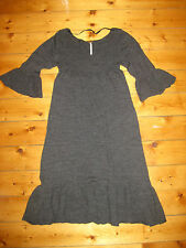 FREE PEOPLE grey wool ruffle dress S gypsy hippie boho