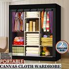 Larger Canvas Wardrobe Fabric Clothes Hanging Rail Storage Wardrobes Black