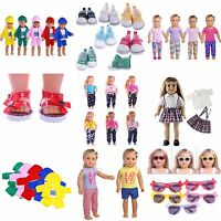 Doll Summer T-shirt Pants Shoes Dress Accessories for 18inch Doll Clothes Gifts