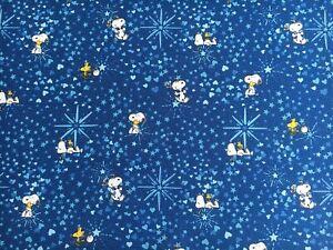 Cath Kidston Snoopy Blue Christmas Stars cotton duck fabric 49cm x w48cm