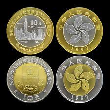 China Set lot 2 coins, 10 Yuan, 1997, HongKong Return, flower bimetal , UNC
