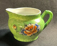 Vintage Trico Nagoya Japan Small Pitcher Speckled Green Floral Pattern 2in Tall