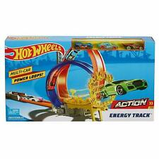 Hot Wheels Action Energy Track Double Power Loops Track Set w 3 Cars