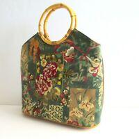 Prezzo Women's Purse Handbag Asian Florals Sequins Bamboo Handles Magnetic Snap