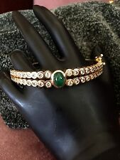 Heavy Diamonds And Emerald Bracelet In 14k Yellow Gold! Great Christmas Gift!