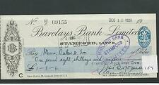 wbc. - CHEQUE - CH159 - USED -1920's - BARCLAYS BANK, STAMFORD. no sort code