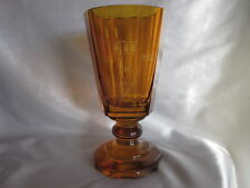 Antique Moser Amber Glass Vase  Dated 1918