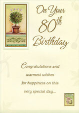 Tree And Pear In Gold Foil Frames Designer Greetings Age 80 80th Birthday Card