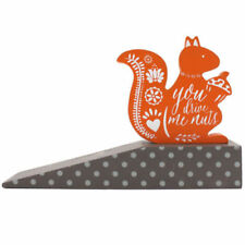 "Squirrel ORANGE ""You Drive Me Nuts!"" Door Stop Wedge Wooden Doorstop Handmade"