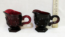Vintage Set 2 Ruby Red Glass Creamers Individual Gravy Sauce Cape Cod by Avon