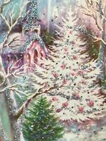 Vintage Christmas Card Pink Ornaments White Tree Silver Glitter Deer Church