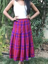 Vintage Red & Purple Plaid Drop Waist Pleated Skirt by Pendleton, Size S