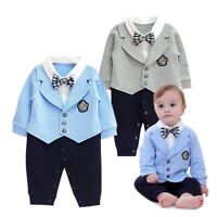 Baby Boy Wedding Birthday Party Formal Tuxedo Suit Outfit One Piece Clothes